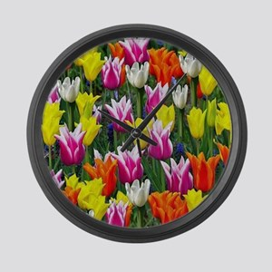 Multicolor Tulips Large Wall Clock