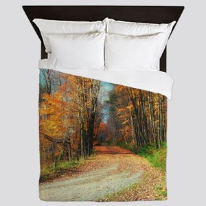 autumn road Queen Duvet