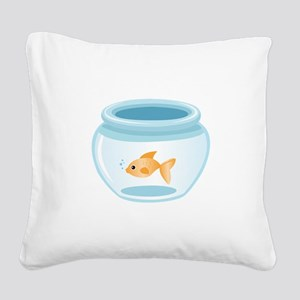 Fish In Bowl Square Canvas Pillow