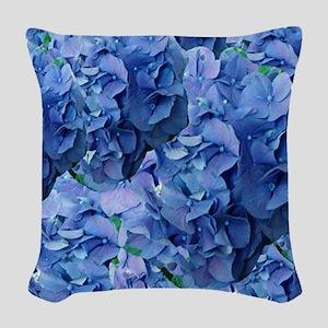 Blue Hydrangea Flowers Woven Throw Pillow