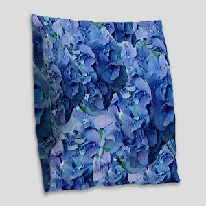 Blue Hydrangea Flowers Burlap Throw Pillow