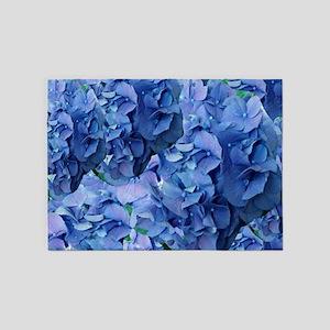 Blue Hydrangea Flowers 5'x7'Area Rug