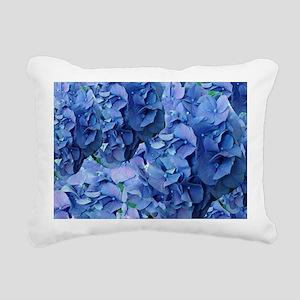 Blue Hydrangea Flowers Rectangular Canvas Pillow