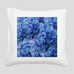 Blue Hydrangea Flowers Square Canvas Pillow