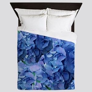Blue Hydrangea Flowers Queen Duvet