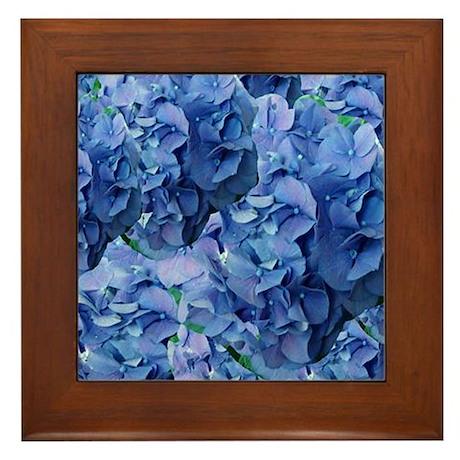 Blue Hydrangea Flowers Framed Tile & Blue Hydrangea Wall Art - CafePress