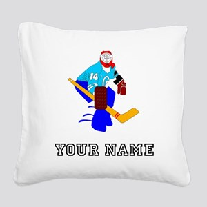 Hockey Goalie (Custom) Square Canvas Pillow