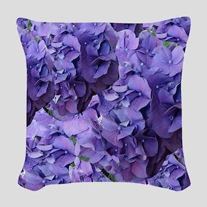Purple Hydrangea Flowers Woven Throw Pillow