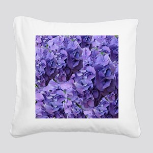 Purple Hydrangea Flowers Square Canvas Pillow