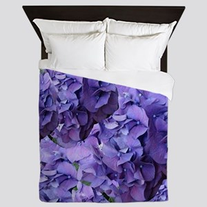 Purple Hydrangea Flowers Queen Duvet