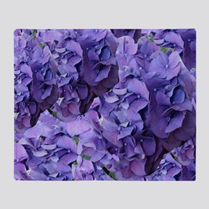 Purple Hydrangea Flowers Throw Blanket