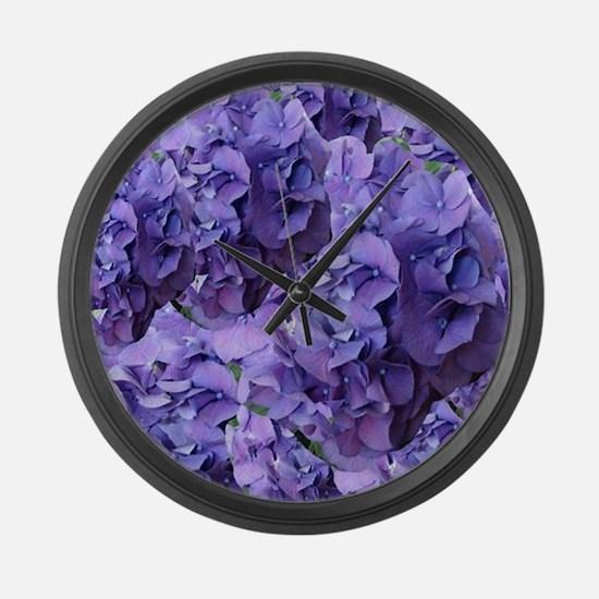 Purple Hydrangea Flowers Large Wall Clock