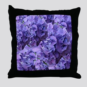 Purple Hydrangea Flowers Throw Pillow