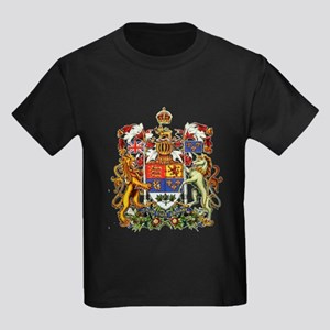 Canadian Royal Coat of Arms Kids Dark T-Shirt