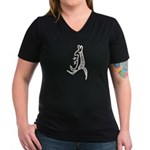 Kangaroo Women's V-Neck Dark T-Shirt