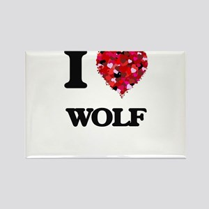I Love Wolf Magnets