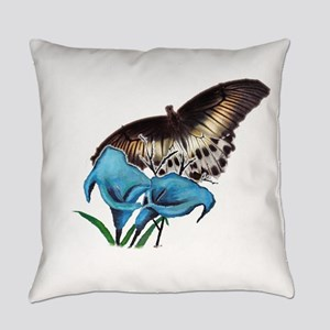 Blue flower and butterfly Everyday Pillow