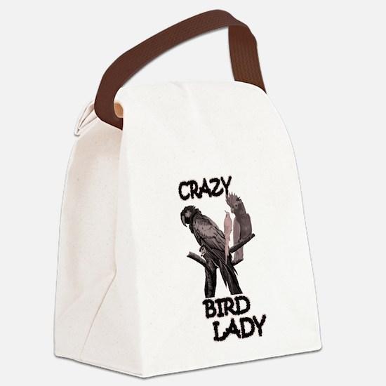 Crazy Bird Lady Canvas Lunch Bag