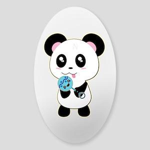Panda w/Blue Rattle Sticker