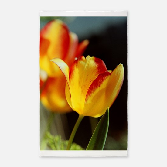 Red Yellow Tulips Area Rug