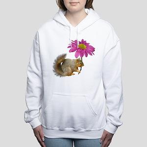 Squirrel Pink Flower Women's Hooded Sweatshirt