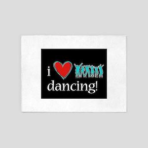 i love neon dancing over blackgroun 5'x7'Area Rug