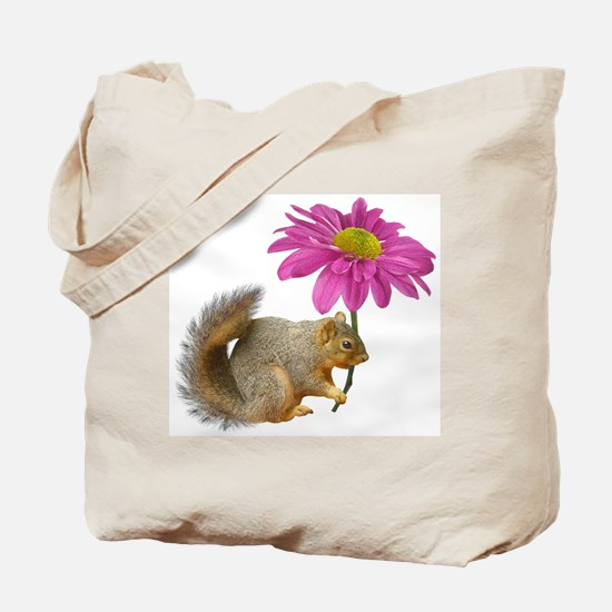 Squirrel Pink Flower Tote Bag