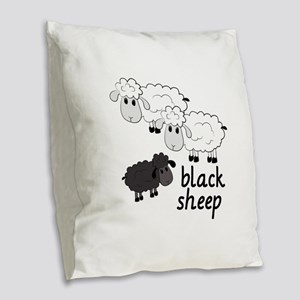Black Sheep Burlap Throw Pillow