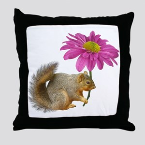 Squirrel Pink Flower Throw Pillow