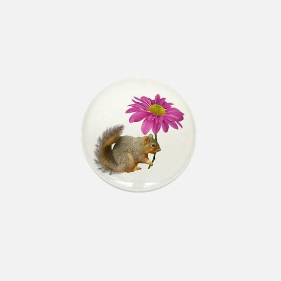 Squirrel Pink Flower Mini Button