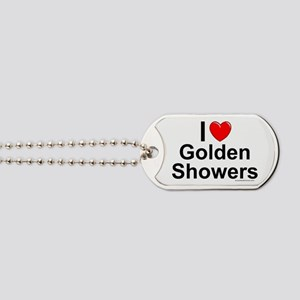 Golden Showers Dog Tags