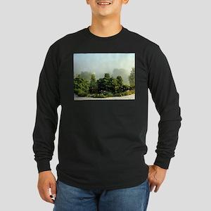 Garden in mist, Arzua,Spain Long Sleeve T-Shirt