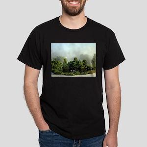 Garden in mist, Arzua,Spain T-Shirt