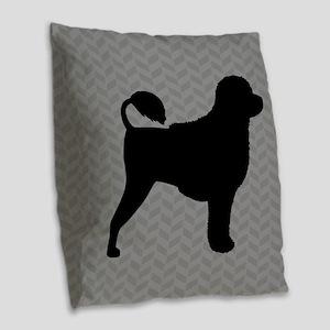 Portuguese Water Dog Burlap Throw Pillow