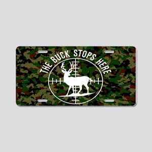 Buck Stops Here Aluminum License Plate