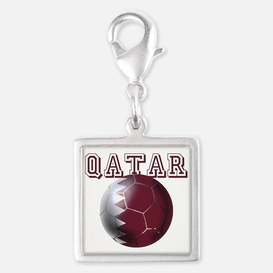 Qatar Football Silver Square Charm
