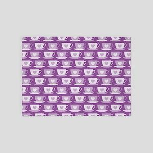 Tea Cups with Hearts - Purple 5'x7'Area Rug