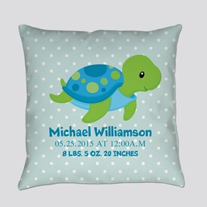 Personalized Birth Stats Tortoise Everyday Pillow