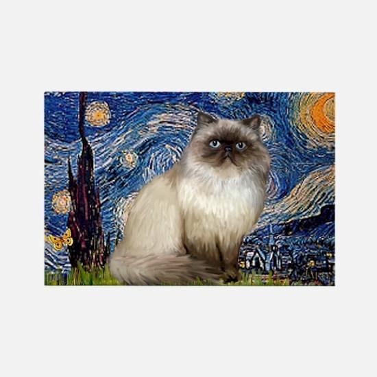 Starry Night Himalayan cat Rectangle Magnet
