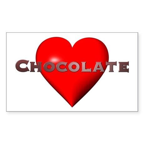 Chocolate Red Heart Rectangle Sticker