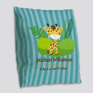 Jungle Safari Personalized Bir Burlap Throw Pillow