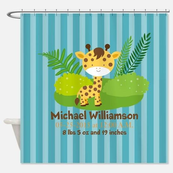 Jungle Safari Personalized Birth St Shower Curtain