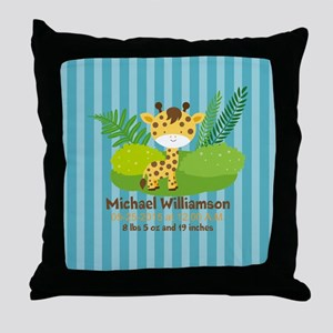 Jungle Safari Personalized Birth Stat Throw Pillow
