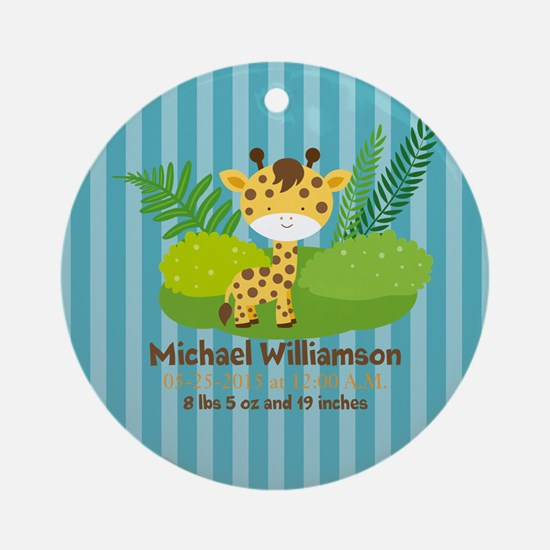 Jungle Safari Personalized Birth Ornament (Round)