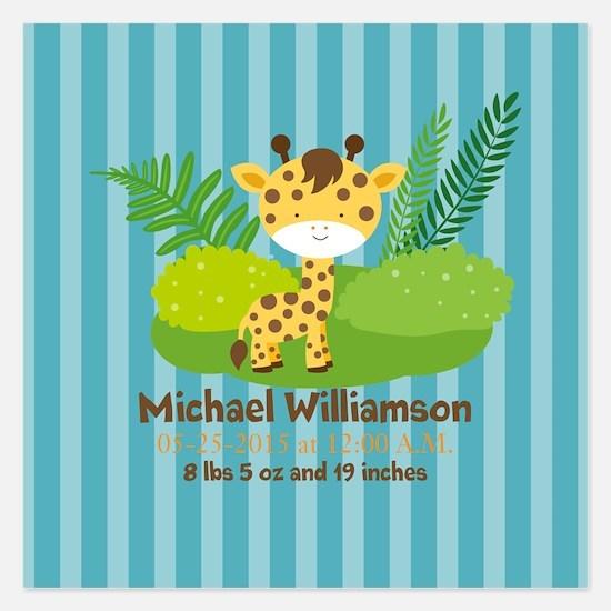 Jungle Safari Personalized 5.25 x 5.25 Flat Cards