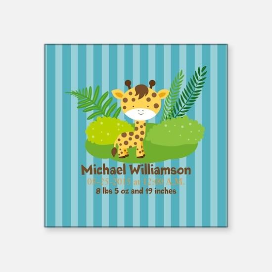"""Jungle Safari Personalized Square Sticker 3"""" x 3"""""""
