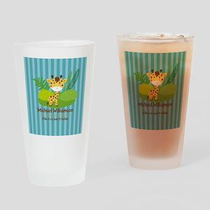 Jungle Safari Personalized Birth St Drinking Glass