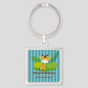 Jungle Safari Personalized Birth S Square Keychain