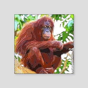 """Painted Orang Square Sticker 3"""" x 3"""""""