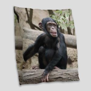 Young Chimp 02 Burlap Throw Pillow